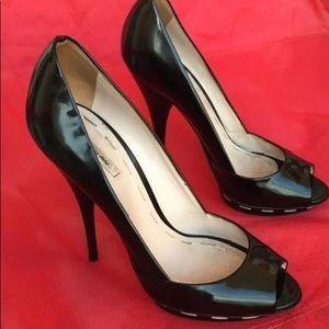 Black Patent 7 Stilletos Peep Toes Shoe